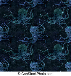 textured old paper background with octopus illustration,...
