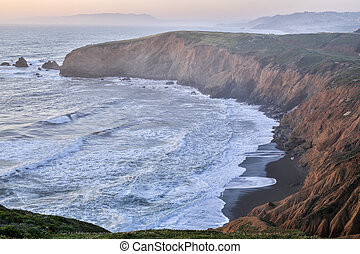 Sunset at Mori Point, Pacifica - Mori Point in Pacifica,...