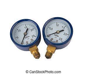 pressure gauge - oxygen pressure gauge on white background