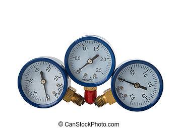 pressure gauge - oxygen pressure gauge on white background