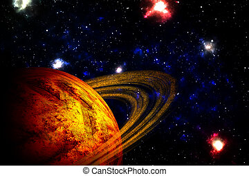 planeta, profundo, en, espacio,