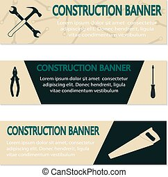 Advertising banners with different tools, vector...