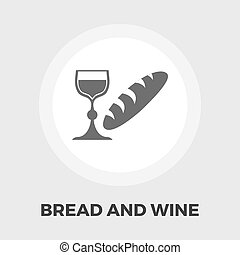 Bread and wine flat icon - Bread and wine icon vector Flat...