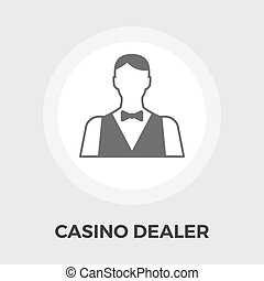 Casino Dealer Flat Icon - Casino Dealer Icon Vector Flat...