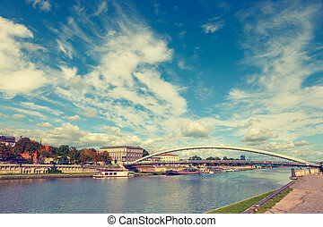 Vintage look of Vistula River in the historic city center of...