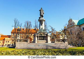 Adam Mickiewicz monument at Krakowskie Przedmiescie Street...
