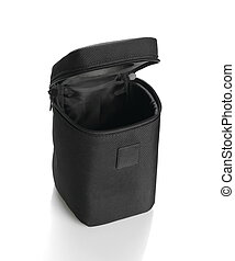 Black lens case bag isolated