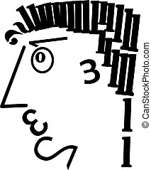 digital man2 - the man's head is made of digits in black on...