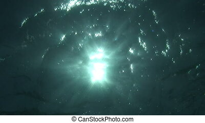 Water reflex - Sunbeams shine through the water surface.