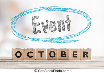 October event sign made of wood