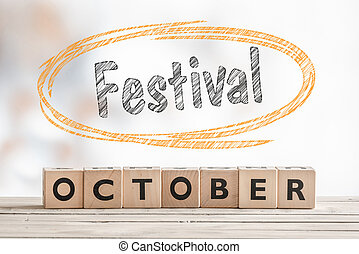 October festival sign made of wood