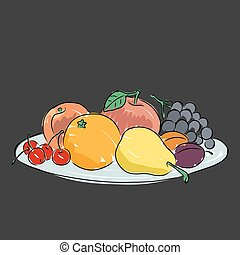A plate with fruit, vector illustration