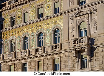 Trieste architecture detail - Trieste in Italy, an...