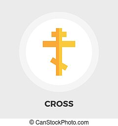 Cross flat icon - Cross icon vector Flat icon isolated on...