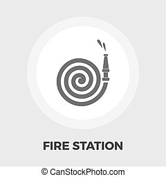 Fire Station flat icon