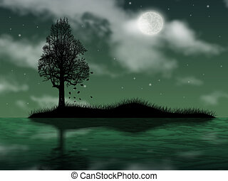 tree on island in ocean on background of the full moon