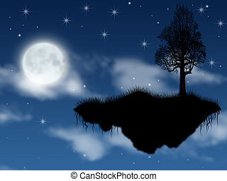 fantastic island steaming in sky in full moon in the night