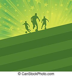 Soccer background - soccer player and ball on green field
