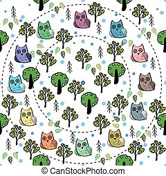 Owls in the forest vector seamless pattern