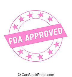 FDA Approved white wording on pink Rectangle and Circle pink...