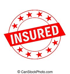 Insured white wording on red Rectangle and Circle red stars