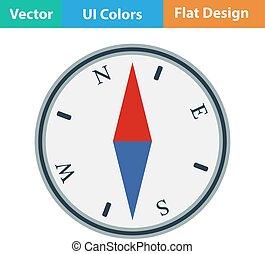 Flat design icon of compass