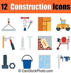 Flat design construction icon set in ui colors Vector...