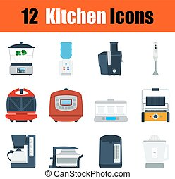 Flat design kitchen icon set in ui colors Vector...