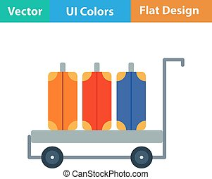 Flat design icon of luggage cart in ui colors. Vector...