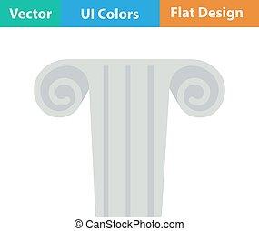 Icon of antique column - Flat design icon of antique column...