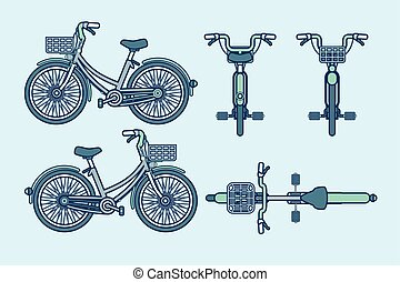 eco-friendly bike front, side, back view line style - Set...