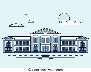 city street with institute, university, academy, educational center, classical architecture in line style