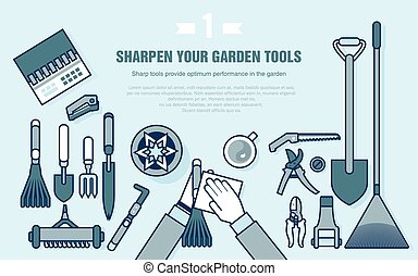 set of gardening tools for working in the vegetable garden