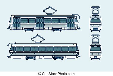 dark blue tram front, side, back view line style - Set stock...
