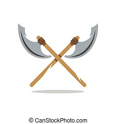 Two crossed Halberds Vector Illustration. - Crosswise Two...