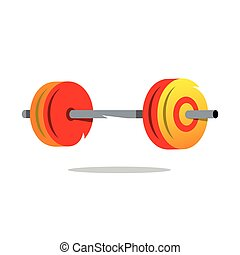 Metal Barbell Vector Cartoon Illustration - Attribute...