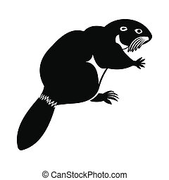 Beaver icon, simple style - Beaver icon in simple style...