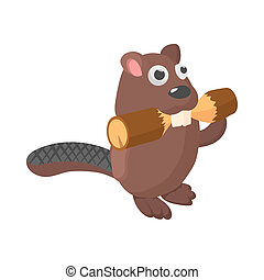 Beaver icon, cartoon style - Beaver icon in cartoon style on...