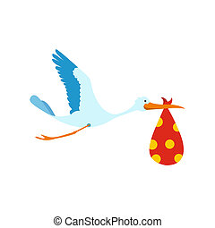 Flying stork with a bundle icon in flat style isolated on...