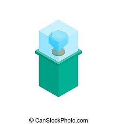 Showcase with blue diamond icon