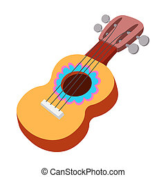 Acoustic guitar icon, cartoon style - Acoustic guitar icon...