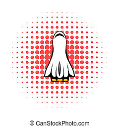 Space shuttle taking off icon, comics style