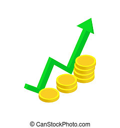 Finance growth icon, isometric 3d style