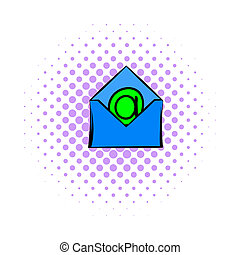 Open envelope with e-mail sign icon, comics style