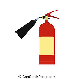 Fire extinguisher icon in flat style isolated on white...