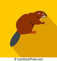 Beaver icon, flat style - Beaver icon in flat style on a...