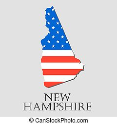 Map State of New Hampshire in American Flag - vector...