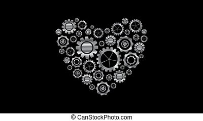 Metal heart from tech gears video animation - Metal heart...