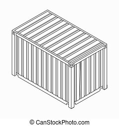 Cargo container icon, isometric 3d style - Cargo container...