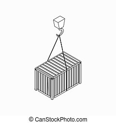 Crane lifts container icon, isometric 3d style - Crane lifts...